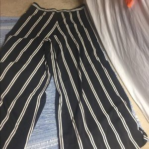 Alice+ Olivia High Waist Striped Wide Leg Pants